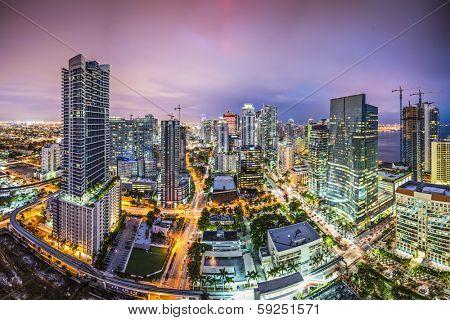 Miami, Florida aerial view of downtown.