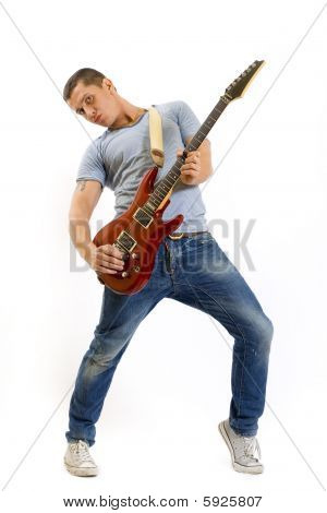 Guitarist Playing His Electric Guitar