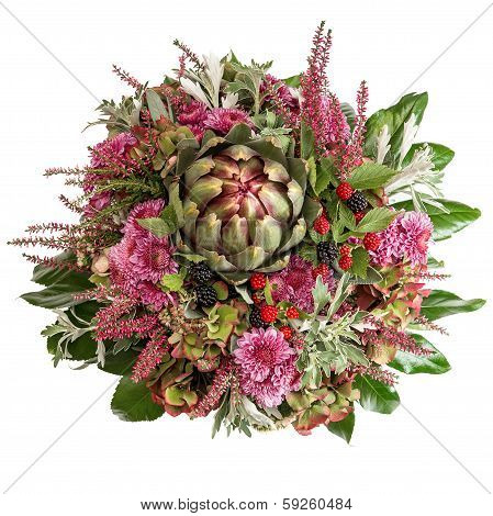 Chrysanthemum Flowers With Artichoke And Blackberries