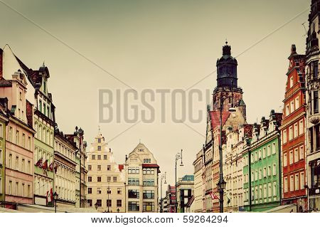 Wroclaw, Poland. The market square with historical buildings and St. Elizabeth's Church. Silesia region. Vintage, retro style