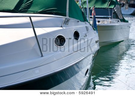 Side Of Docked Boats In The Water