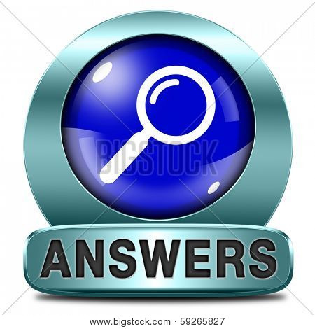 answers blue icon indicating way to solve problems answer button answer icon search answer and discover truth text and word concept