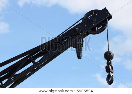 Crane with hook and wires