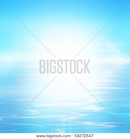 Blue abstract background with white spot light abstract tropical horizon with sunburst poster