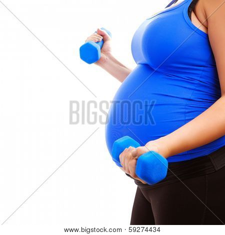 Expectant girl do fitness indoors, isolated on white background, side view, body part, workout with dumbbells, healthy pregnancy concept