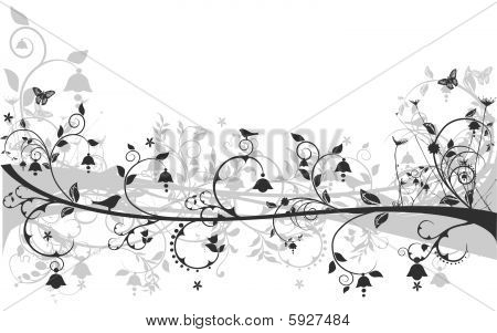 Vector floral design with birds and butterflies