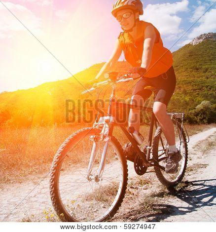 mountain biker on sunny day