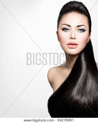 Beauty Brunette Fashion Model Girl with Long Healthy Straight Hair, Ponytail Hairstyle. Hairdo. Isolated on a white background. Beautiful Woman with brown long Healthy smooth hair