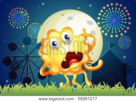 Illustration of a carnival with a shocked orange monster