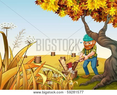 Illustration of a hilltop with a woodman chopping woods
