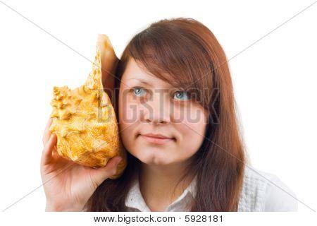 Woman Listening Big Conch