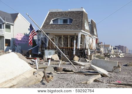Destroyed beach houses in the aftermath of Hurricane Sandy in Far Rockaway, NY