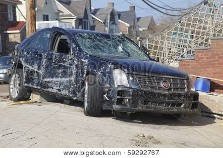 Destroyed car in the aftermath of Hurricane Sandy in Far Rockaway, NY