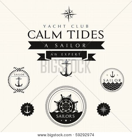 Collection Of Vintage Nautical Badges And Labels