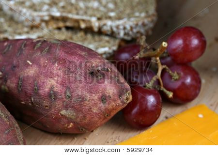 Yams, Grapes, Bread And Cheese
