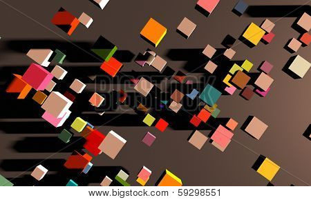 brightly coloured 3d rendered cubes whizzing past