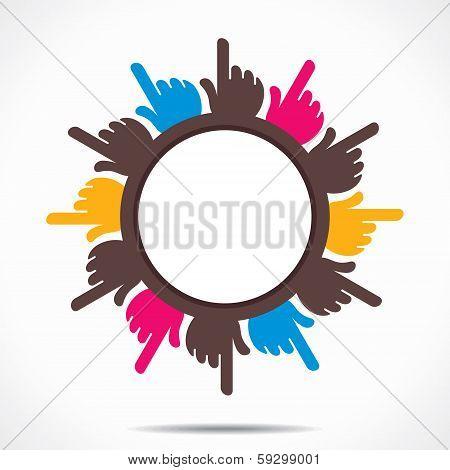 round hand pointed finger design background