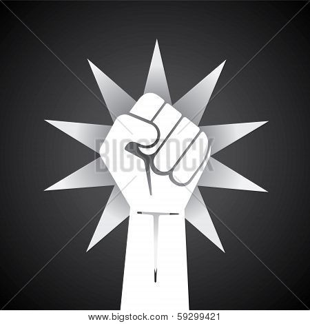 clenched fist held high in protest illustration