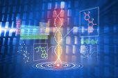 DNA helix interface against glowing squares on blue background poster