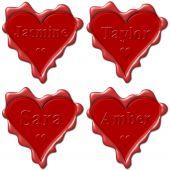 Valentine love hearts with names: Jasmine Taylor Sara Amber poster