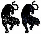 black panther  tattoo illustration isolated on white background poster
