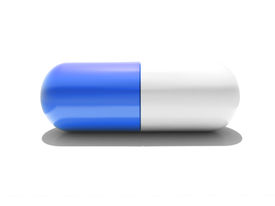 Blue and white pill