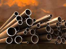 Pipes on scenic background