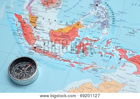 Travel Destination Indonesia, Map With Compass