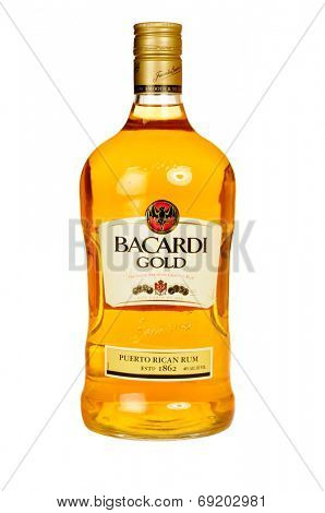 Hayward, CA - July 28, 2014: Bottle of Ron Bacardi Gold Puerto Rican Rum