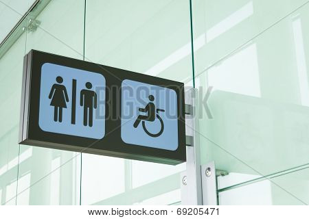 Public restroom signs with a disabled access