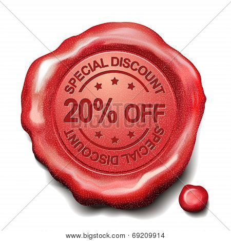 20 Percent Off Red Wax Seal