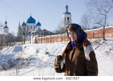 Smiling Girl In Russian Traditional Kerchief