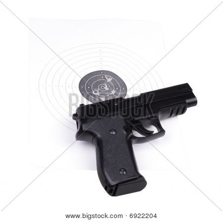 Pistol On The Raked Target