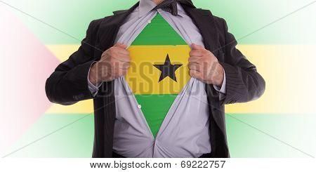 Businessman With Sao Tome And Principe Flag T-shirt