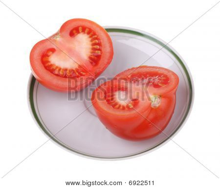 Tomato Half On A Plate