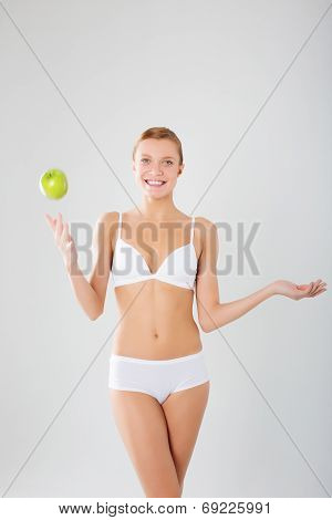 Taned Happy Fit Woman. Diet, Healthy Lifestyle And Body Care Concept.