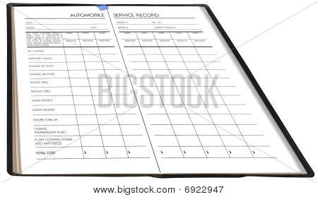 Automobile service record, isolated on white background