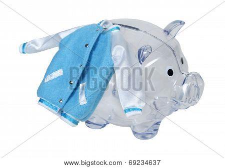 Letterman Jacket On Piggy Bank