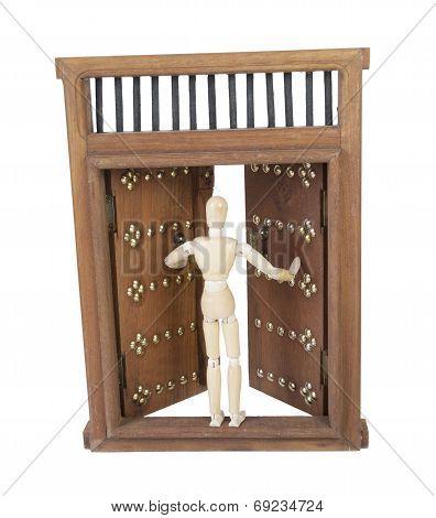 Opening Wooden Castle Door With Wooden Bar Lock