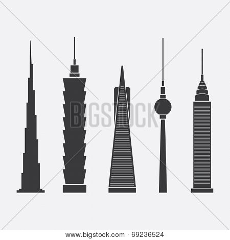 July 28, 2014: Collection of Abstract Vector Illustrations of Five Famous Skyscrapers: Burj Dubai, Taipei 101, Transamerica Pyramid, Berlin TV Tower, Chrysler Building - For Editorial Use
