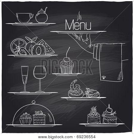 Chalk banquet food symbols on a chalkboard. Eps10