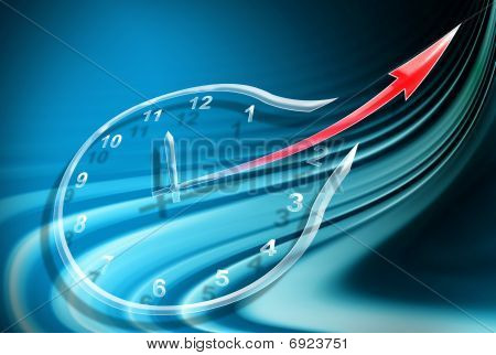 Clock On Abstract Blue Background