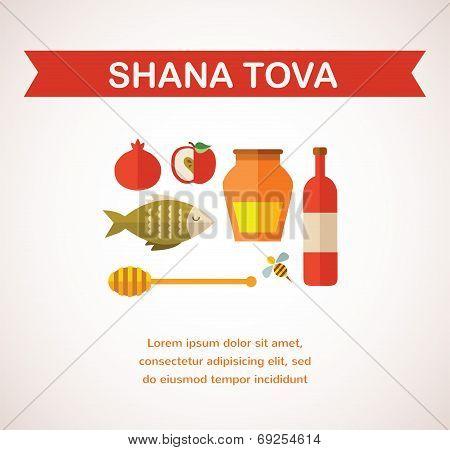 set of Jewish new year icons.