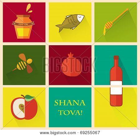 Set of icons for Jewish holiday Rosh Hashana.
