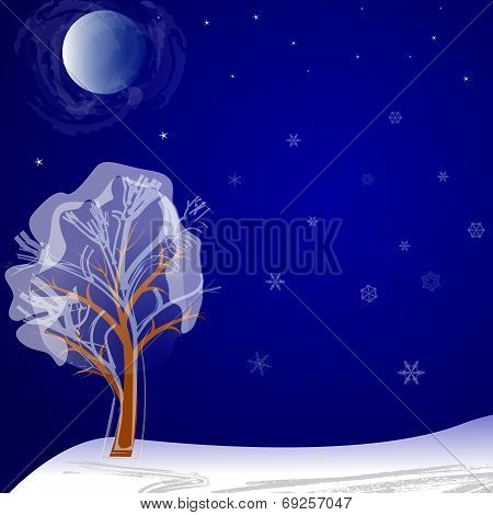 Lonely Tree On A Winter Night Under The Moon