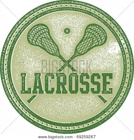 Vintage Lacrosse Sport Stamp Sign