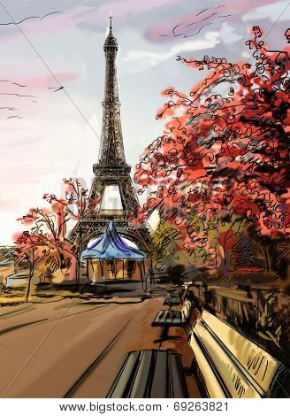 Street in paris. Eiffel tower - illustration  poster