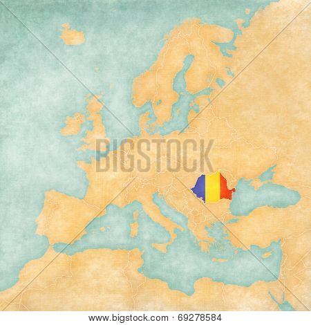 Romania (Romanian flag) on the map of Europe. The Map is in vintage summer style and sunny mood. The map has a soft grunge and vintage atmosphere which acts as watercolor painting on old paper. poster