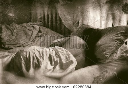 Sleeping Woman Faux Vintage Wet Plate