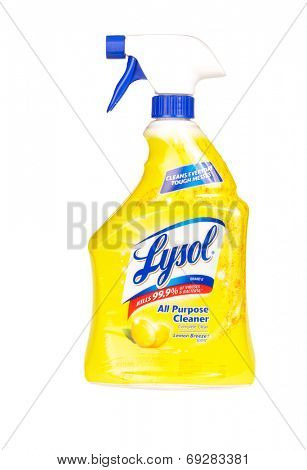Hayward, CA - July 29, 2014: Spray bottle of Lysol All Purpose Cleaner with Lemon Breeze scent